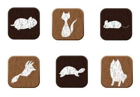 cat grooming: Pet shop wooden icons set with pets silhouettes