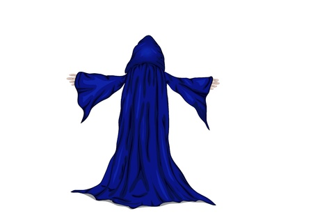 adherent: colorful  illustration of a wizard or a monk