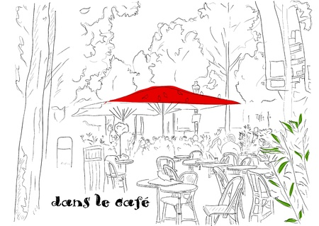 Cafe on the Champs-Elysees   Stock Vector - 12825620