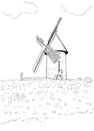 boulangerie:  A hand drawn landscape with a windmill