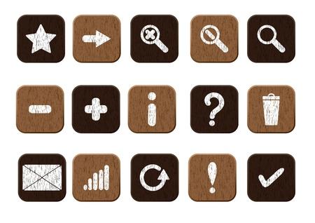 15 の木製のアイコン ベクトル イラスト eps8 の基本セット