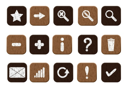 Basic set of 15 wooden icons  Vector illustration eps8 Vector