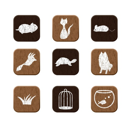 pet store advertising: Pet shop wooden icons set with pets silhouettes.