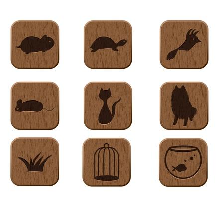 veterinarian: houten pictogrammen met huisdieren silhouetten vector eps8