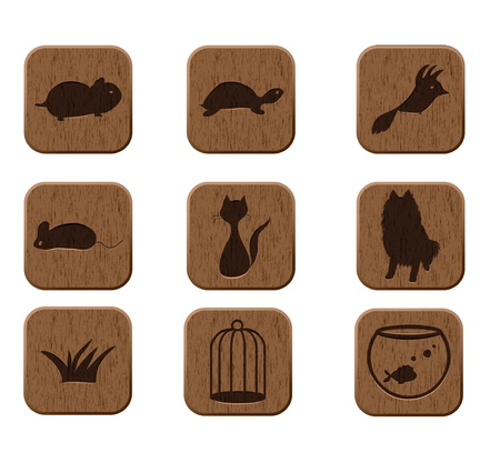veterinary symbol: wooden icons set with pets silhouettes  vector eps8