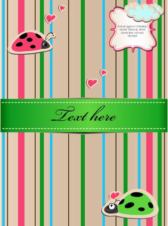 A striped sticker with ladybugs in love  Eps8 vector illustration Vector