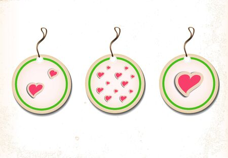 A set of round labels with hearts on an old paper  Vector illustration Eps8 Vector