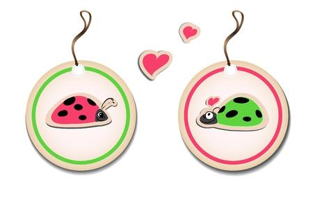bugs shopping: Vector conjunto de etiquetas con las mariquitas en el amor Eps8 ilustraci�n