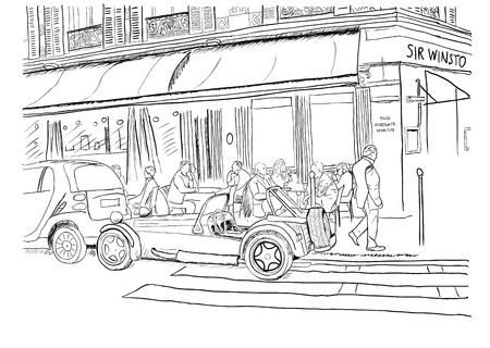 vintage paris: Ilustraci�n vectorial de las calles de Par�s con los caf�s, la gente y de coches antiguos EPS8