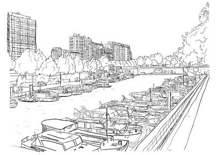 seine: Dijk van de rivier met de schepen Vector illustratie Stock Illustratie