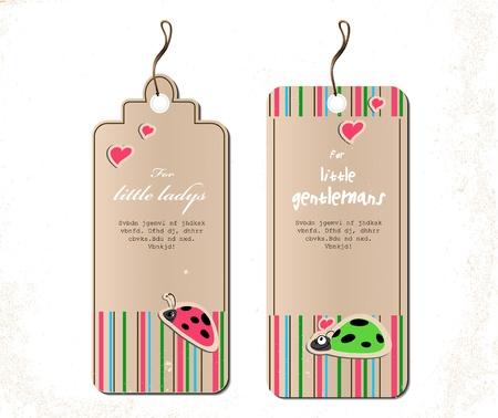 bugs shopping: conjunto de vectores de etiquetas con las mariquitas en el ejemplo de amor