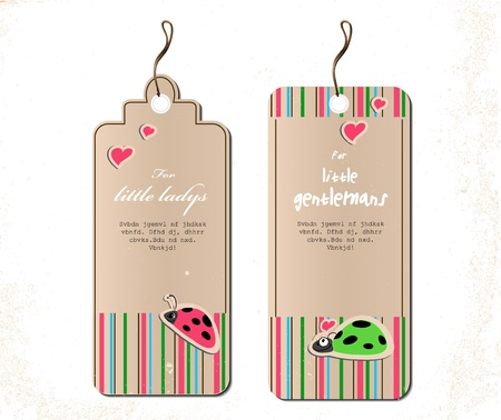 vector set of tags with ladybirds in love illustration Vector