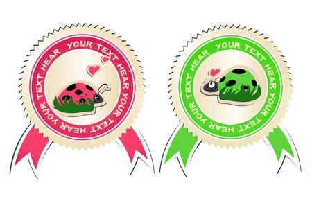 bugs shopping: conjunto de vectores de pegatinas con mariquitas en amor. Vectores