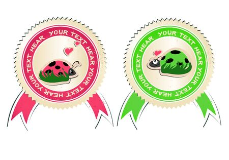 bugs shopping: vector set of stickers with ladybirds in love.  Illustration