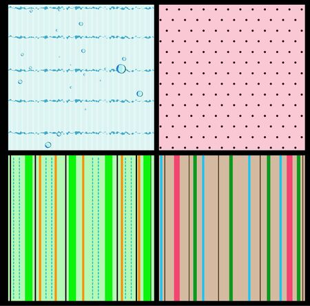 Set of 4 seamless textures  Polka dot, strips, bubbles   Vector