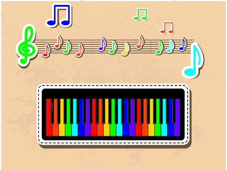 Colorful piano and notes musical set   Vector