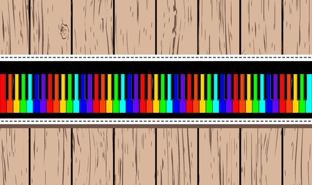 octaves: Wooden card with rainbow piano  Vector illustration EPS8