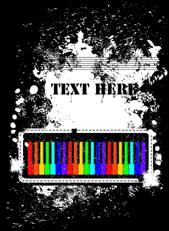 Abstract background con pianoforte, note e grunge spruzzo vettoriali