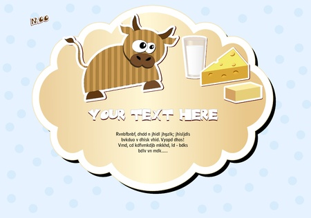 Label with cow, milk, cheese and butter  Vector illustration  Stock Vector - 13123221