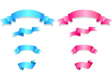 Set of pink and blue ribbons  Vector illustration  Vector