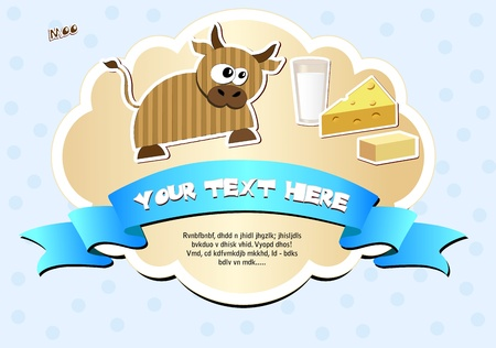 milk cheese: Label with cow, milk, cheese and butter  Vector illustration