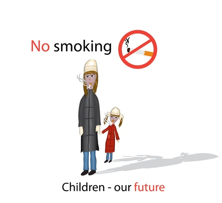 women smoking: No smoking poster with smoking mom and daughter