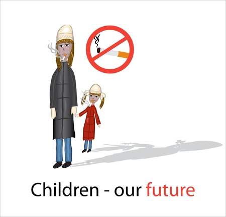 No smoking poster with smoking mom and daughter Vector
