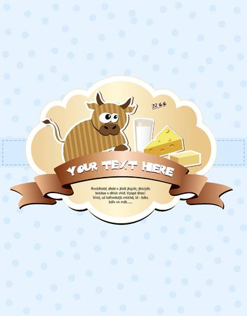 Card with cow, milk, cheese and butter illustration Vector