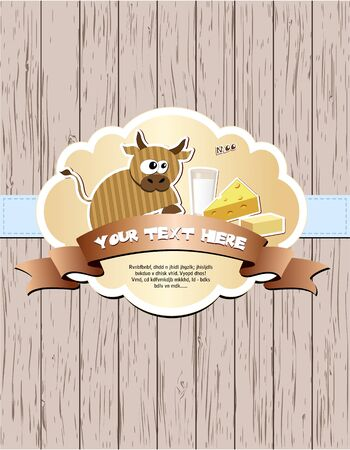 dairy products: Wooden card with cow, milk, cheese and butter illustration