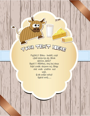butter: Wooden card with cow, milk, cheese and butter illustration