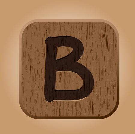 Hand drawn  wooden letter B  Vector illustration EPS8 Vector
