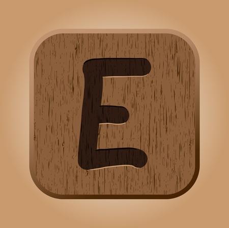 e new: Hand drawn  wooden letter E  Vector illustration EPS8