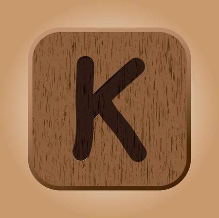 Hand drawn  wooden letter K.  Vector
