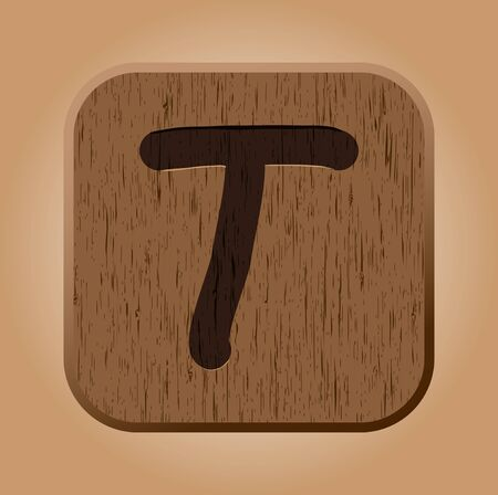 Hand drawn  wooden letter T   Vector