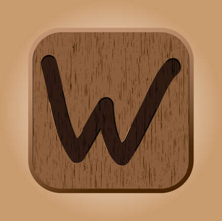 title hands: Hand drawn  wooden letter W   Illustration