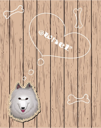 Wooden card with dreaming dog Stock Vector - 13392530