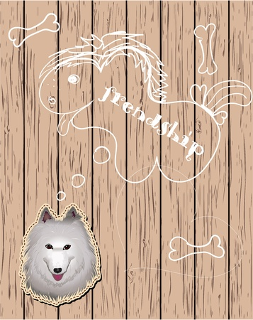 Wooden card with dreaming dog  Vector