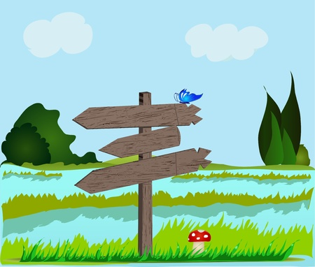 Landscape with wooden signboard   EPS 8