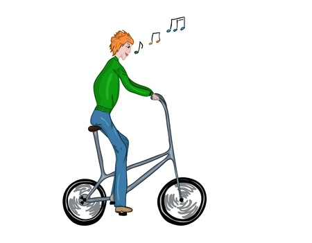 Funny, high, singing bicyclist Vector