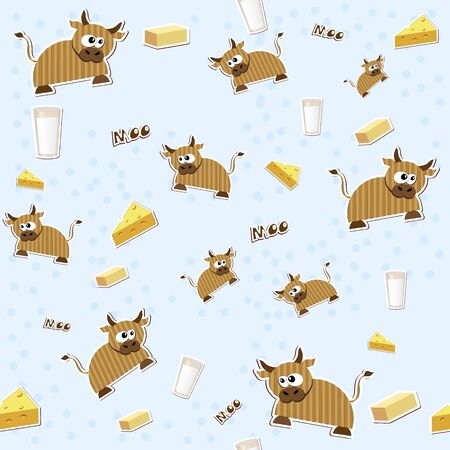 Seamless texture with milk, cheese, cow and butter   Vector