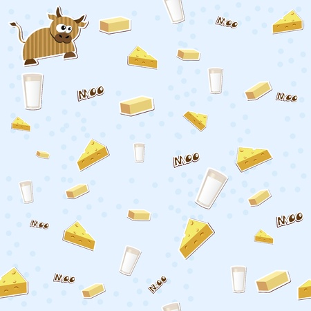 wallpape: Seamless texture with milk, cheese, cow and butter.  Illustration