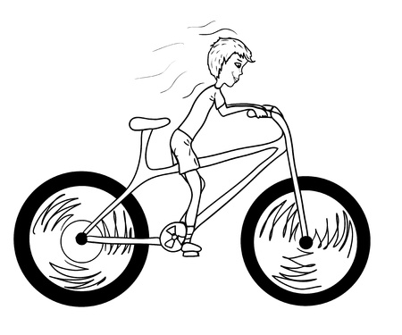 Kid with too big bicycle Vector