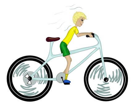 Kid with too big bicycle  Color version   Vector