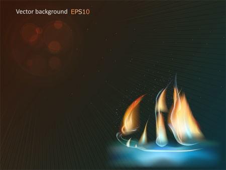 brig: Abstract fire ship on a black background  Illustration