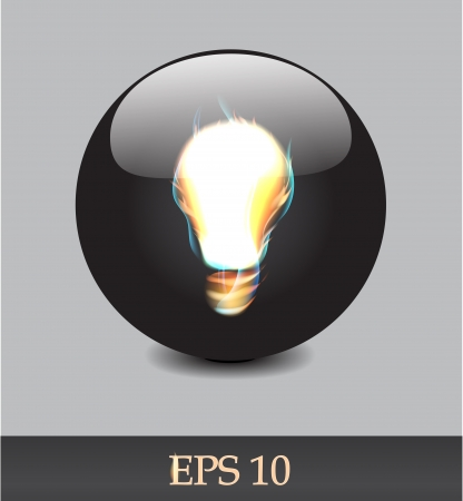 Fiery bulb on a black background   Vector