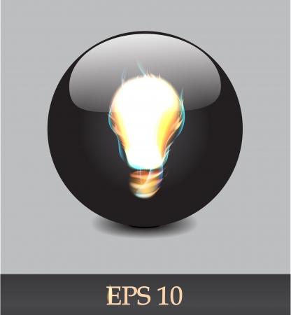 Fiery bulb on a black background