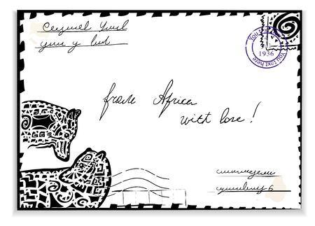 Mail from Africa with wolves    Stock Vector - 14226298