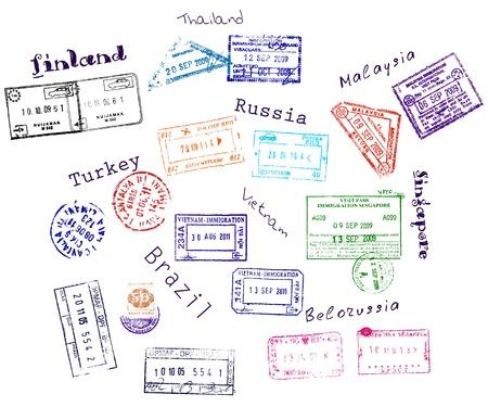 pasaporte: Sellos reales de visado de los nueve pa�ses de la ilustraci�n