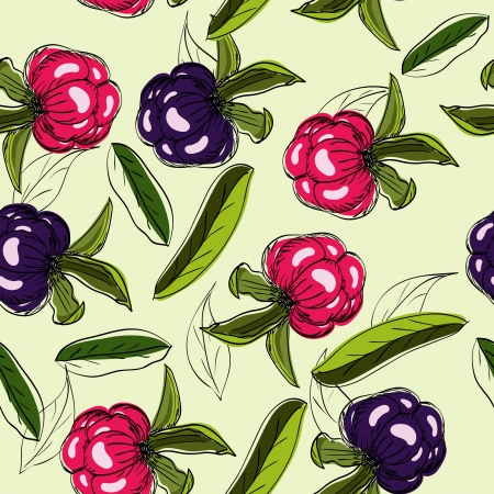 Seamless texture with berries and leaves illustration