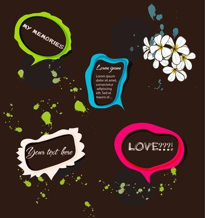Set of bright speech bubbles illustration Vector